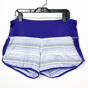 Lululemon Purple Striped Mesh Sun Sprinter Shorts